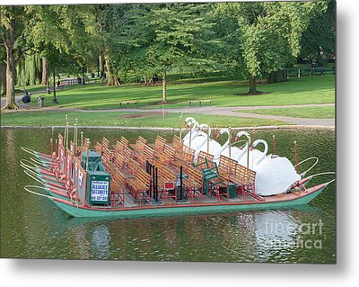 Swan Boat In Boston Public Garden Metal Print by Clarence Holmes
