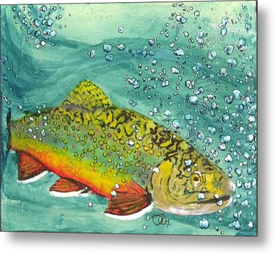 Swimming Upstream Metal Print by Sheryl Brandes