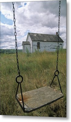 Swing At Old School House, Quappelle Metal Print by Dave Reede
