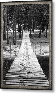 Swinging Cable Foot Bridge Metal Print by John Stephens