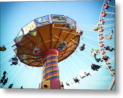 Swings Metal Print by Leslie Leda