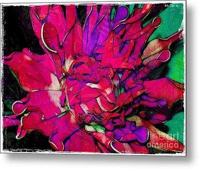 Swirly Fabric Flower Metal Print by Judi Bagwell