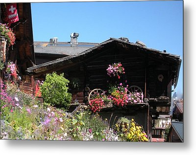 Swiss Chalet Interlaken Metal Print by Marilyn Dunlap