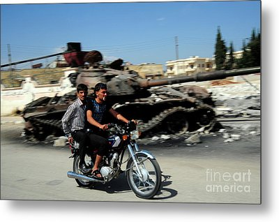 Syrian Men Drive A Motorbike Metal Print by Andrew Chittock