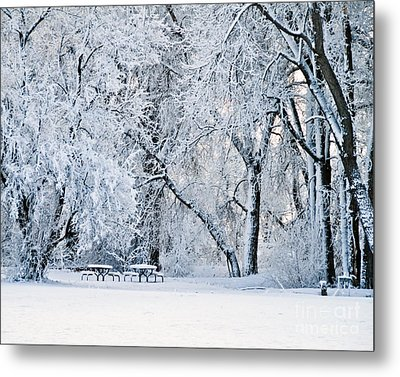 Tables With A View Metal Print by Harry Strharsky