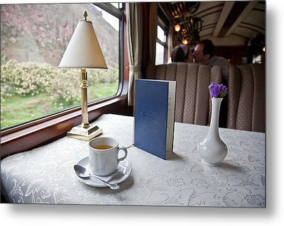 Tea Is Served By Peru Rail On The Way Metal Print by Michael &Amp Jennifer Lewis