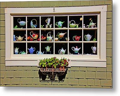 Tea Pots In Window Metal Print by Garry Gay
