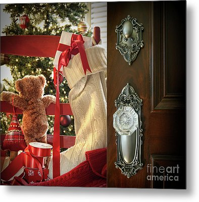 Teddy Waiting For Christmas Time Metal Print by Sandra Cunningham
