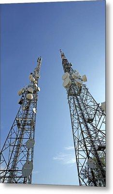Telecommunications Masts Metal Print by Carlos Dominguez