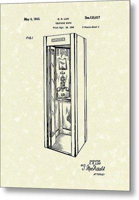 Telephone Booth 1943 Patent Art Metal Print by Prior Art Design