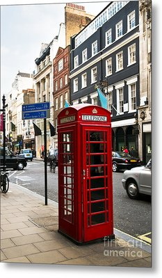 Telephone Box In London Metal Print by Elena Elisseeva