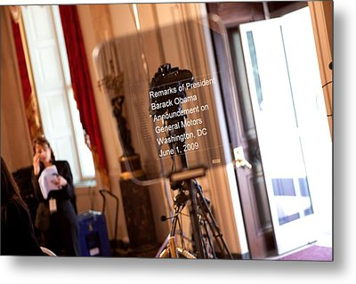Teleprompter Set Up For President Metal Print by Everett