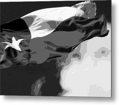 Texas Flag In The Wind Bw15 Metal Print by Scott Kelley