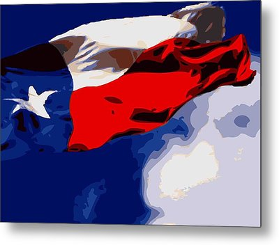 Texas Flag In The Wind Color 16 Metal Print by Scott Kelley