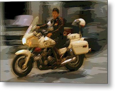 Thai Motorbike Police Metal Print by Kantilal Patel