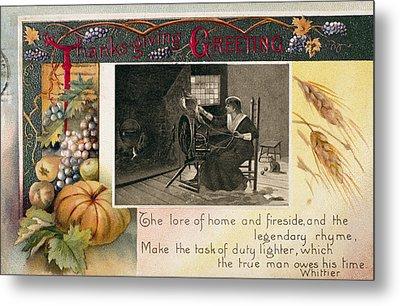 Thanksgiving Card, 1909 Metal Print by Granger