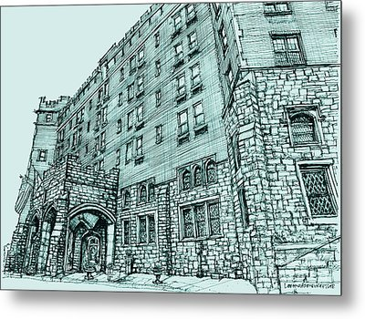 Thayer Hotel In Blue Metal Print by Building  Art
