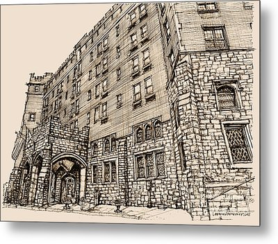 Thayer Hotel In Pink Metal Print by Building  Art