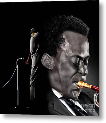 The Back And The Affront Of Miles Davis Metal Print by Reggie Duffie