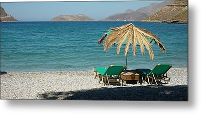 The Beach Umbrella Metal Print by Therese Alcorn