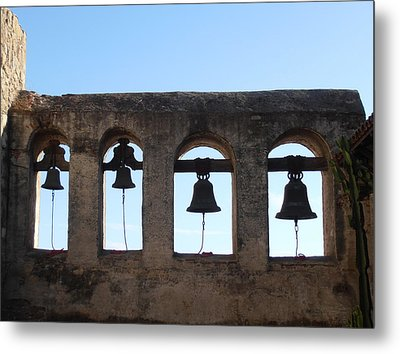 The Bells At The San Juan Capistrano Mission Metal Print by Pat Cannon