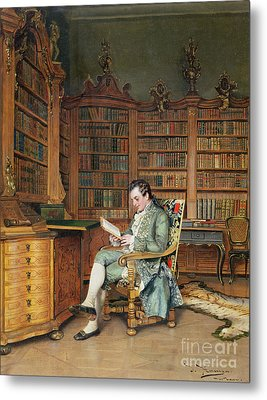 The Bibliophile Metal Print by Johann Hamza