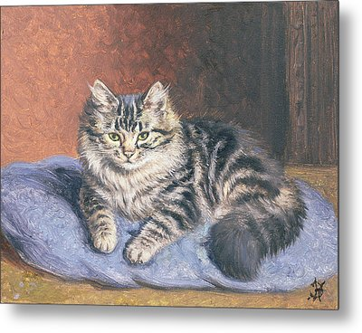 The Blue Cushion Metal Print by Horatio Henry Couldery