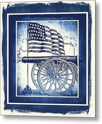 The Bombs Bursting In Air Blue Metal Print by Angelina Vick