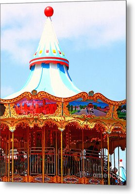 The Carousel At Pier 39 San Francisco California . 7d14342 Metal Print by Wingsdomain Art and Photography