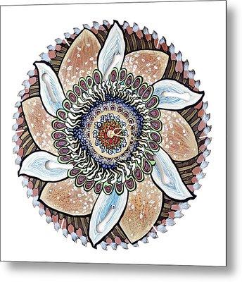 The Chris-can-themum Wall Clock Metal Print by Jessica Sornson