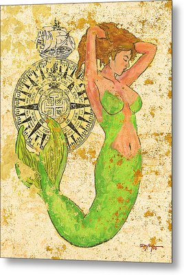 The Compass And The Mermaid Metal Print by William Depaula