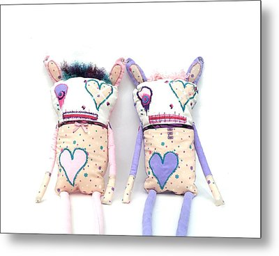 The Cutie Patootie Zombie Bunny Twins Metal Print by Oddball Art Co by Lizzy Love