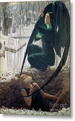 The Death And The Gravedigger Metal Print by Carlos Schwabe