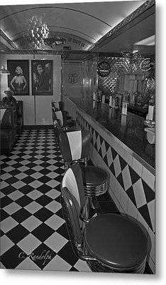 The Diner B And W Metal Print by Cheri Randolph
