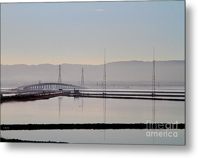 The Dumbarton Bridge In The Bay Area Viewed Through Coyote Hills California . 7d10961 Metal Print by Wingsdomain Art and Photography