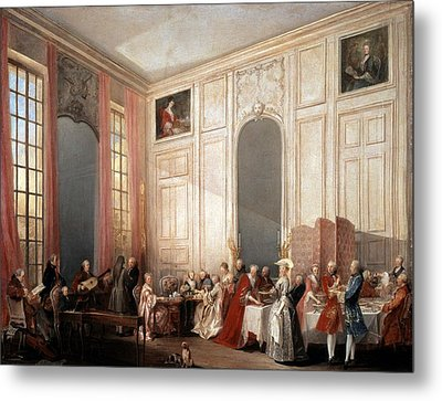 The English Tea In The Salon With Four Mirrors Painting Metal Print by Photos.com