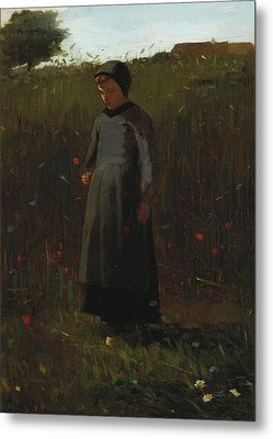 The Flowers Of The Field Metal Print by Winslow Homer