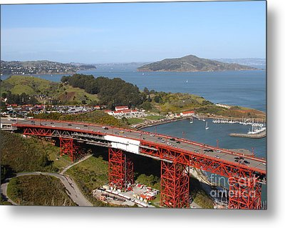 The Golden Gate Bridge North Side Overlooking Angel Island And Tiburon And Horseshoe Bay . 7d14494 Metal Print by Wingsdomain Art and Photography