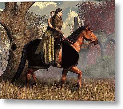 The Golden Knight And His Lady Metal Print by Daniel Eskridge