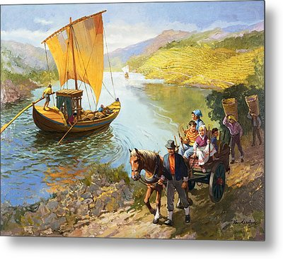 The Grape-pickers Of Portugal Metal Print by van der Syde