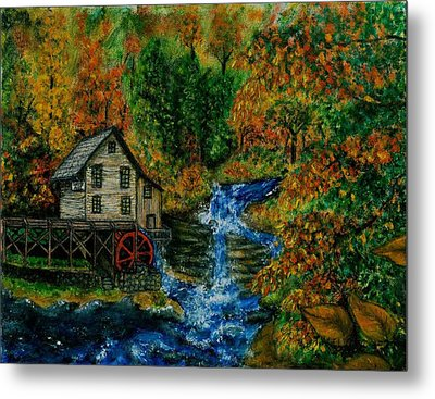 The Grist Mill In Autumn Metal Print by Tanna Lee M Wells