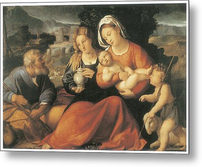 The Holy Family And Mary Magdalene Metal Print by Palma The Elder