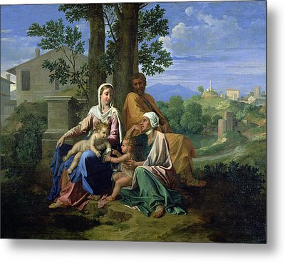 The Holy Family With Ss John Elizabeth And The Infant John The Baptist Metal Print by Nicolas Poussin