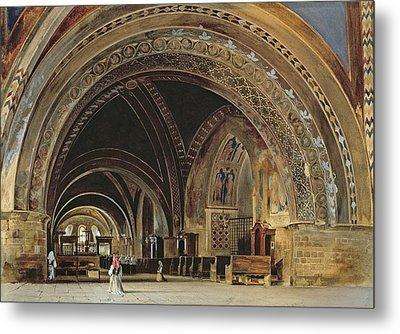 The Interior Of The Lower Basilica Of St. Francis Of Assisi Metal Print by Thomas Hartley Cromek