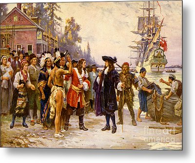 The Landing Of William Penn, 1682 Metal Print by Photo Researchers