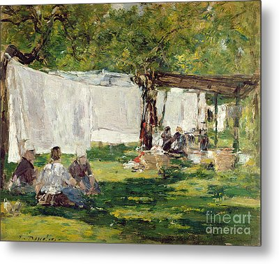 The Laundry At Collise St. Simeon  Metal Print by Eugene Louis Boudin