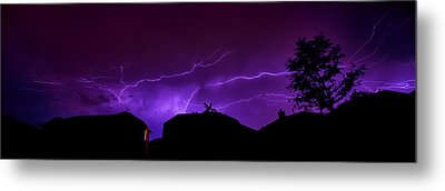 The Lightning Over Avery Neighborhood Metal Print by Lisa  Spencer