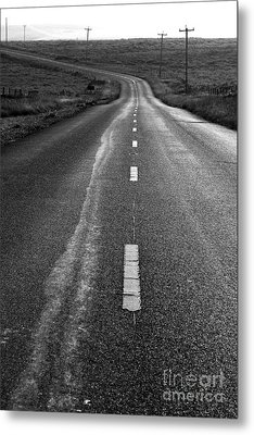 The Long Road Home . 7d9898 . Black And White Metal Print by Wingsdomain Art and Photography