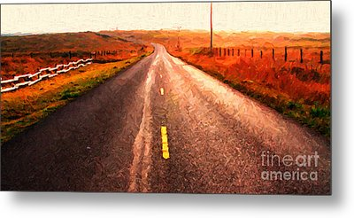 The Long Road Home . Painterly Style . Wide Size Metal Print by Wingsdomain Art and Photography