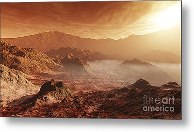 The Martian Sun Sets Over The High Metal Print by Steven Hobbs